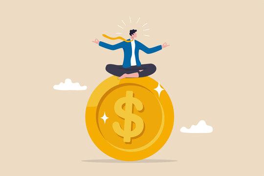 Financial guru or expert, behavioral finance mindfulness for wealth management, money and investment advisor concept, smart businessman meditate and floating on big golden money dollar coin.