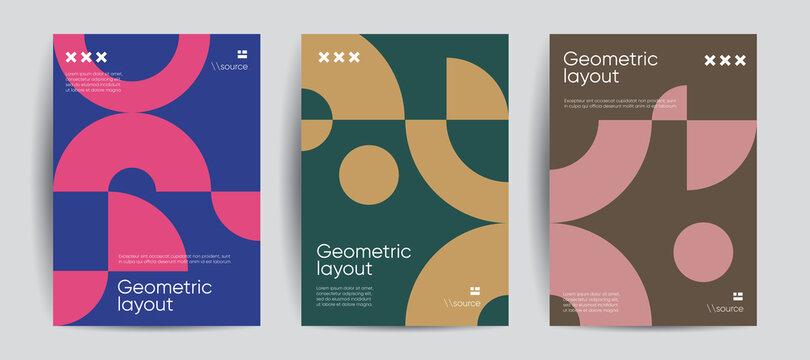 Simple geometric covers set. Minimalist vector templates.