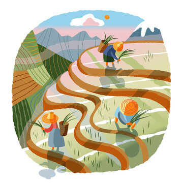 Asian farmers working in agriculture field. Farm with Chinese, Vietnamese, Indian or Indonesian workers vector illustration. Men and women collecting crops in fields with plow or hoe