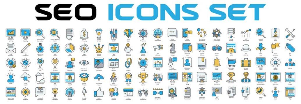 SEO optimization icons. Search Engine Optimization.  vector illustration.