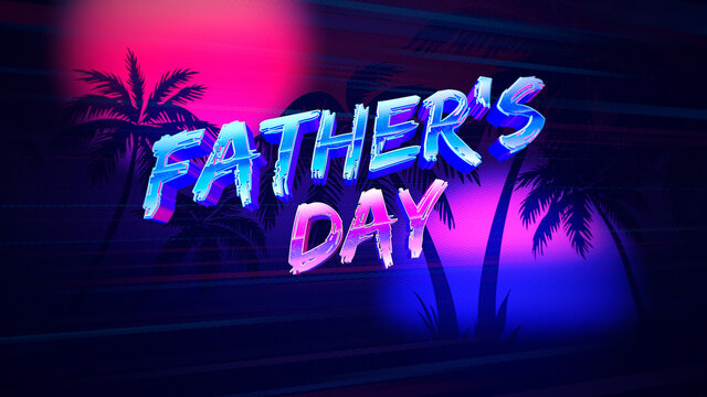Text Fathers day and retro summer palms, holiday background