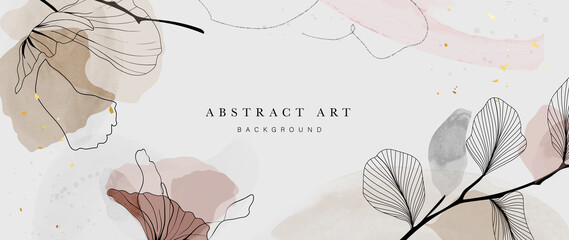 Fototapeta Abstract watercolor art background vector. Gingko and botanical line art wallpaper. Luxury cover design with text, golden texture and brush style. floral art for wall decoration and prints.  obraz