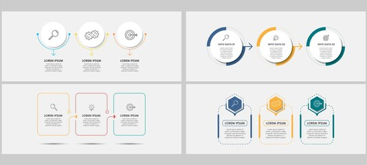Vector Infographics set with 3 options or steps. Business concept. Can be used for presentations banner, workflow layout, process diagram, flow chart, info graph