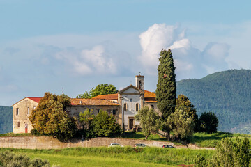 Fototapeta View of the ancient Church of San Zio, Cerreto Guidi, Florence, Italy, on a hill in the Tuscan countryside obraz
