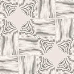 Fototapeta Trendy minimalist seamless pattern with abstract creative hand drawn composition obraz