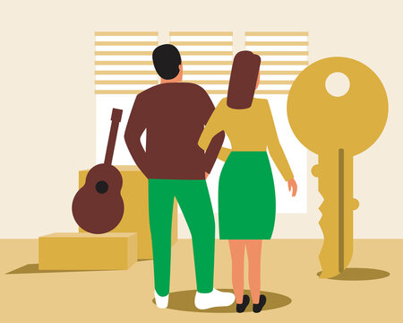 Young couple, mortgage or loan, vector stock illustration with buying real estate in a mortgage, man and woman transport goods in boxes
