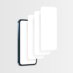 Fototapeta Phone Blue Mockup with Blank App Pages. Concept for Showcasing Mobile App Design Projects. Vector illustration obraz