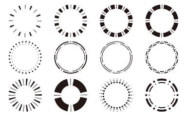Obraz 丸型・円形のシンプルフレームセット モノクロ - fototapety do salonu