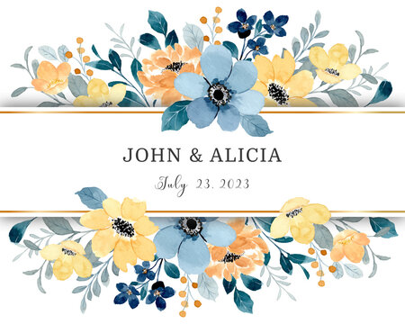Yellow blue flower border with watercolor