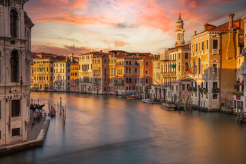 Grand Canal in Venice Italy during sunset