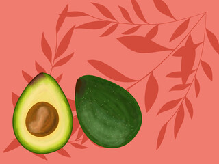 Avocado cut in half with red tropical background.