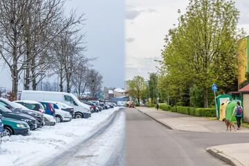 Zima wiosna, dwie różne pory roku, śnieg, brak śniegu, drzewa - fototapety na wymiar