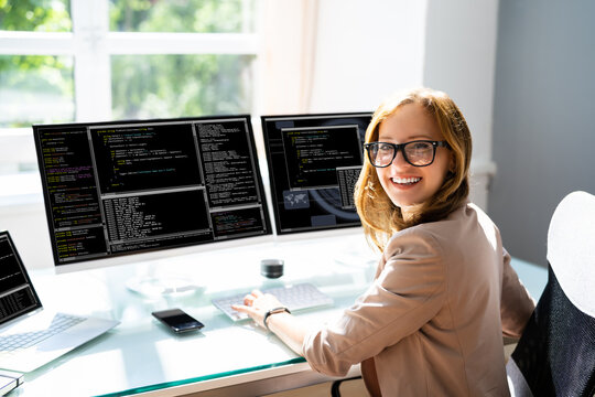 Programmer Woman Coding On Computer