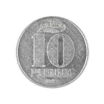 Ten 10 penning coin East German money isolated on a white background