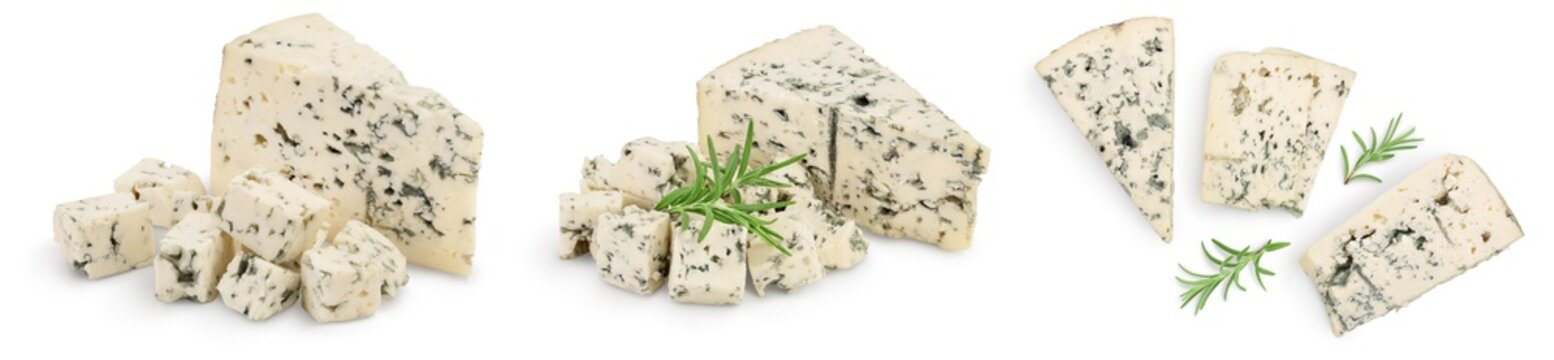 Blue cheese with rosemary isolated on white background with full depth of field. Set or collection
