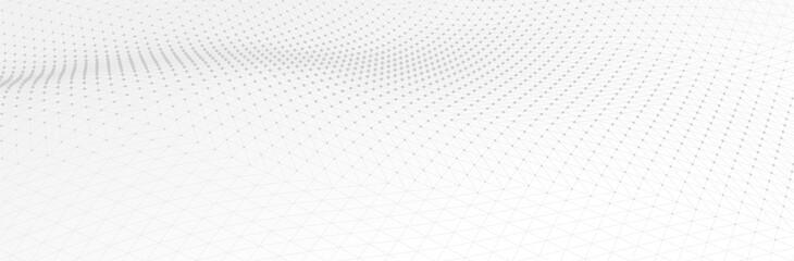 Obraz White Gray background. 3d dotted surface. Futuristic landscape. Technology presentation backdrop. Vector illustration - fototapety do salonu
