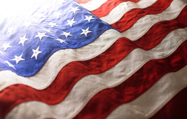 USA background of waving American flag. For 4th of July, Memorial Day, Veteran's Day, or other patriotic celebration.