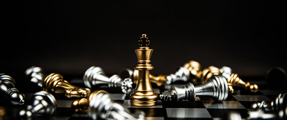 Close up king chess standing winner to fighting challenge battle on chess board concepts of...