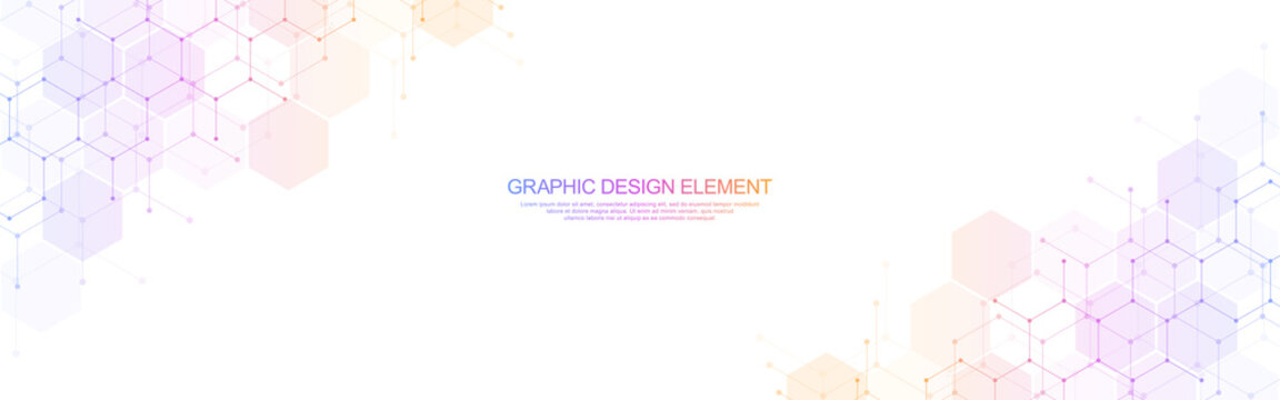 Abstract geometric background with hexagons pattern. The design element of hexagonal shape for a banner template or website header