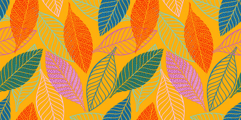 Bright funny seamless pattern with abstract leaves. Vector design