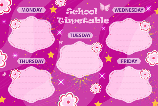 Weekly school timetable template with cute design elements. Weekday planner for kids. vector illustration