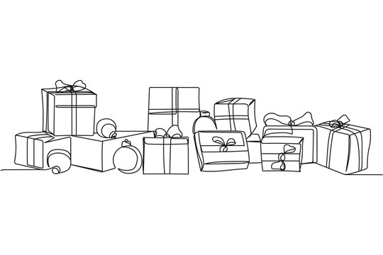 Continuous one line of christmas gift boxes in silhouette. Linear stylized. Minimalist.