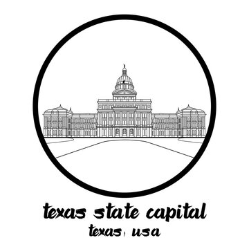 Circle Icon line Texas State Capital. vector illustration