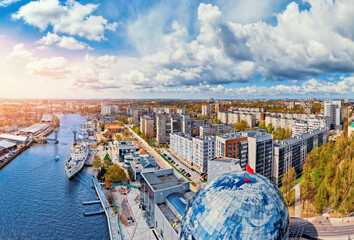 Panorama aerial view cityscape Kaliningrad Russia Museum of World Ocean with ship in bay, sunlight