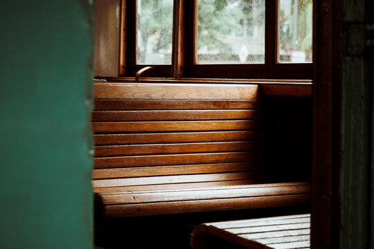 benches in old wooden train