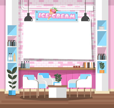 Empty interior ice-cream shop with Design Elements. Flat style illustration. Vector Illustration