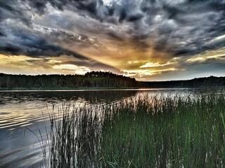 Obraz Zachód słońca . Jezioro Niedźwiedno ,Lubuskie - fototapety do salonu
