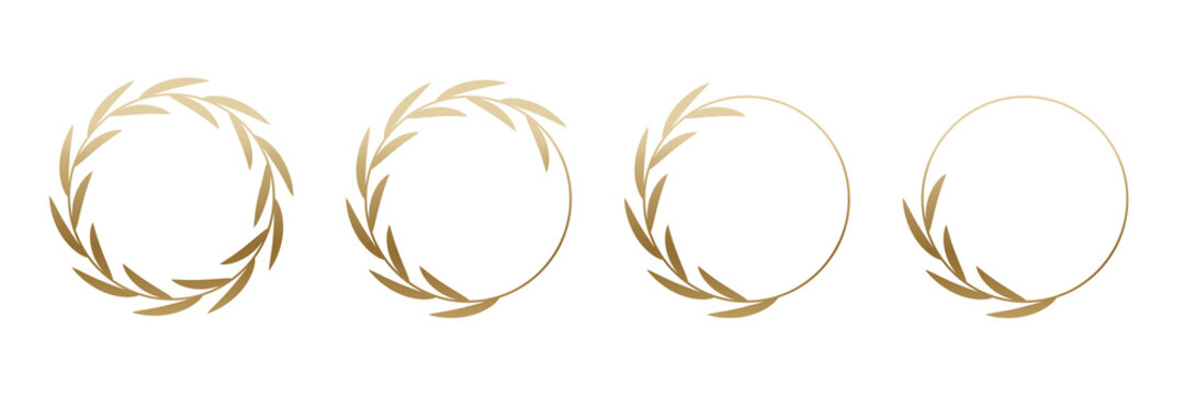 Golden laurel wreath round frame set. Rings with gold leaves, circle award logo or emblem vector illustration. Roman circular badge for anniversary, wedding, award isolated on white background