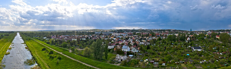 Fototapeta Panorama miasta, widok z lotu ptaka na Zawarcie od strony Kanału Ulgi, miasto Gorzów Wielkopolski obraz