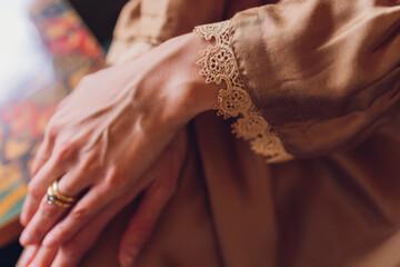 Fototapeta Tesksture and details of Muslim women's clothing. obraz