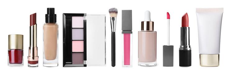 Obraz Set with different decorative cosmetics on white background. Banner design - fototapety do salonu