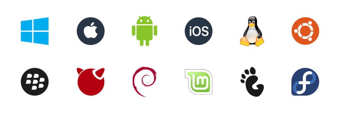Main OS logo set: Windows, MacOS, Android, IOS, Ubuntu, Linux, Freebsd, Blackberry, Fedora, Gnome, Debian . Isolated operating system icons on white background. Editorial illustration.