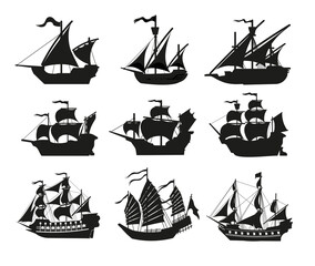 Obraz Pirate boats and Old different Wooden Ships with Fluttering Flags. Vector Set Old shipping sails traditional vessel pirate symbols garish vector illustrations.Black silhouettes collection set - fototapety do salonu