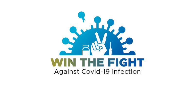 victory, fight against corona. vaccine injection vaccination Boost your immunity and win the covid 19 infection pandemic Logo symbol icons