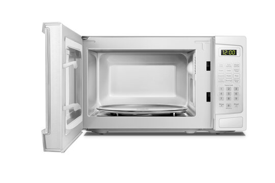 White open microwave oven isolated on white background