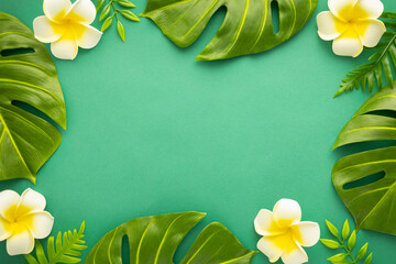 Summer background with tropical frangipani flowers and green tropical palm leaves on green background. Flat lay, top view. Summer party backdrop