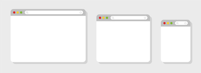Browser mockups different devices web window mobile, laptop and tablet screen in internet. Browser window in flat style. Web browser template. Vector illustration. - fototapety na wymiar