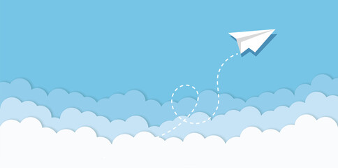 Fototapeta Blue sky with paper plane flying and clouds vector background. Creative carton border of clouds. Airy atmosphere stylish design. Vector illustration. obraz