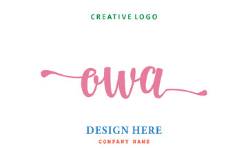 Fototapeta OWA lettering logo is simple, easy to understand and authoritative obraz
