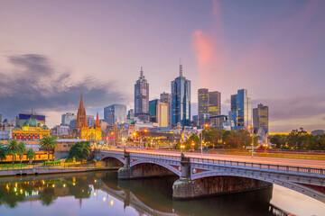 Melbourne city skyline at twilight, Australia