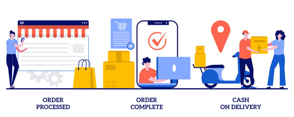 Order processed, order complete, cash on delivery concept with tiny people. Purchase process vector illustration set. Online store, e-commerce website, shipping details, delivery service metaphor - fototapety na wymiar