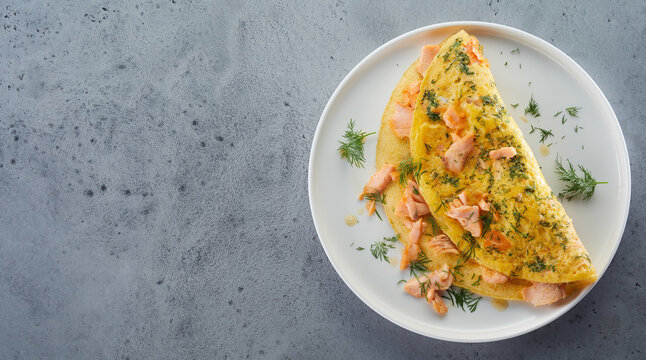 Omelette with chicken and dill