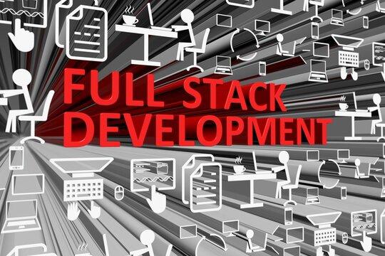 FULL STACK DEVELOPMENT concept blurred background 3d render illustration