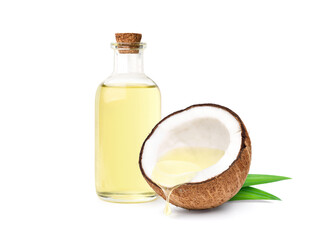 Fototapeta Coconut oil dripping from coconut cut in half with bottle  isolated on white background. obraz