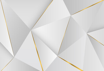 Modern abstract light silver background vector. Elegant concept design with Geometric triangles with golden lines. Suitable as wallpaper background, cover, card, template, poster, banner