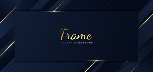 Abstract template blue frame stripes golden lines diagonal overlap background. Luxury style.